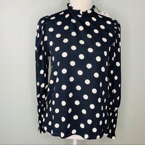 Zara Shirt Black White Polka Dots XS